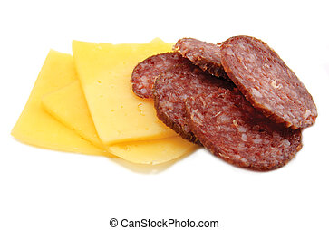 Cheese and Salami - Cheese and salami, isolated on white