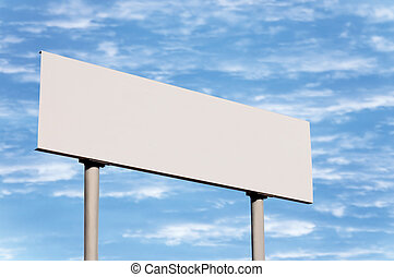 Blank Road Sign Without Frame Against Sky - Blank road sign...