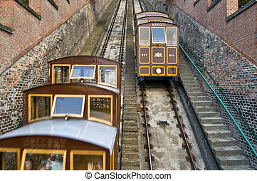 Funicular - old funicular climbing up the castle hill in...