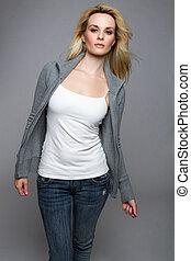 jeans, sweater, kvinna