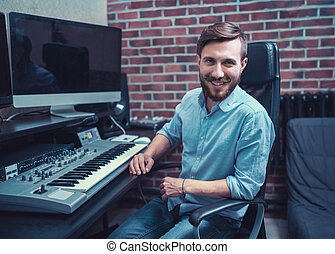 Producer - Smiling producer in recording studio