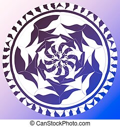 Abstract ornament, stencil round pattern, cut out design, decor element