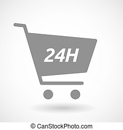 Isolated cart with the text 24H - Illustration of an...