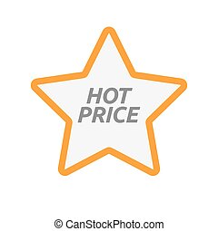 Isolated star icon with    the text HOT PRICE
