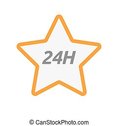 Isolated star icon with the text 24H - Illustration of an...