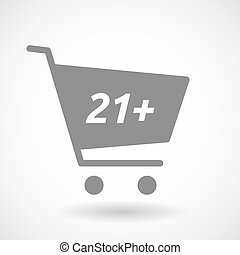 Isolated cart with the text 21+ - Illustration of an...