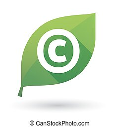 Isolated leaf icon with    the  copyright sign