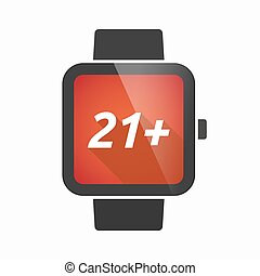 Isolated smart watch with the text 21+ - Illustration of an...