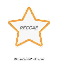 Isolated star icon with the text REGGAE - Illustration of an...