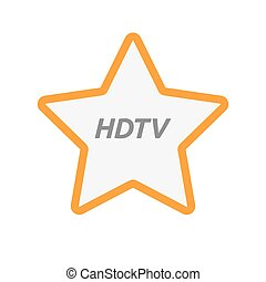 Isolated star icon with the text HDTV - Illustration of an...