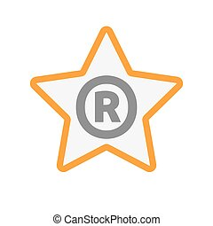 Isolated star icon with    the registered trademark symbol