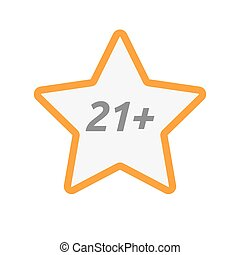 Isolated star icon with the text 21+ - Illustration of an...