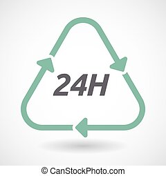 Isolated recycle sign with the text 24H - Illustration of an...