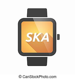 Isolated smart watch with the text SKA - Illustration of an...