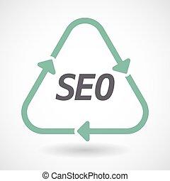 Isolated recycle sign with    the text SEO