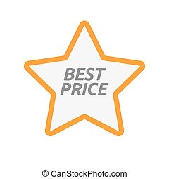 Isolated star icon with    the text BEST PRICE