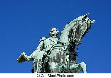 rei, cavalo, estátua,  Oslo,  carl, norueguês,  xiv,  johan