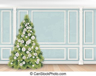 Christmas tree on Blue wall with pilasters background -...