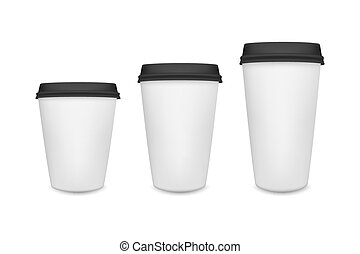 Realistic blank paper coffee cup set isolated on white background. Vector design template.