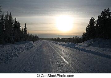 Arctic travels - Frozen road in Northern Sweden