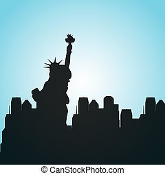 new york city design - silhouette of new york city. colorful...