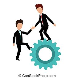 business people with gear teamwork