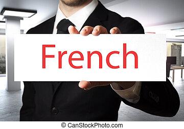 segurando, homem negócios, francês, escritório, sinal