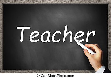 black chalkboard teacher wooden border 3D Illustration -...