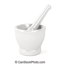 Mortar with pestle on white background