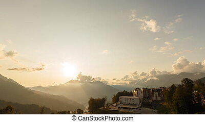 Sunset over the valley of the Rosa Khutor. Sochi, Russia.