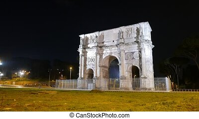 Arch of Constantine. Night. Rome. Italy. UltraHD (4K)