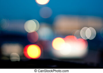 Intentionally Blurred Background. Heavy Traffic on Evening...