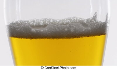 Bubbles floating in beer