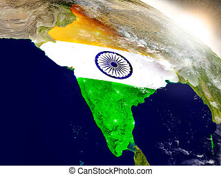 India with flag in rising sun - India with embedded flag on...