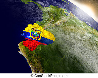 Ecuador with flag in rising sun - Ecuador with embedded flag...