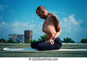 lotus pose meditation - Yoga concept. Experienced yoga...