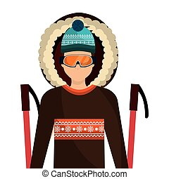 skier avatar with equipment vector illustration design
