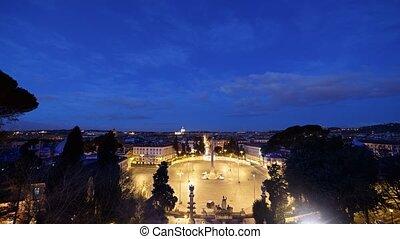 Dawn, Piazza del Popolo, Rome, Italy. TimeLapse. UltraHD...