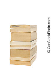 Stack of old paperback books isolated with copyspace