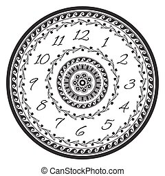 Vintage clock face with greek ornaments