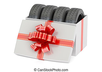 Gift Box with Car Tyres, 3D rendering isolated on white...