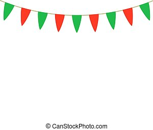Decorative flags on greeting card template for a happy...