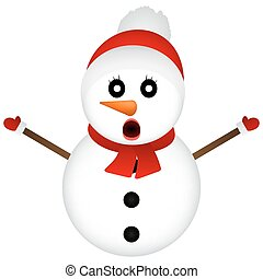 Surprised Snowman on a white background standing, vector illustr