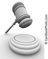 3d gavel  - 3d rendered illustration of a gavel on a pad