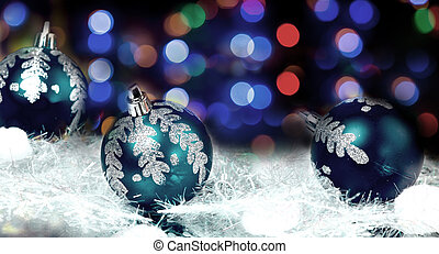New year's blue balls on abstract background