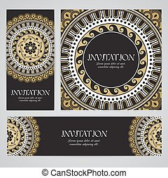 Vector banners with mandala in black, gold and white colors....