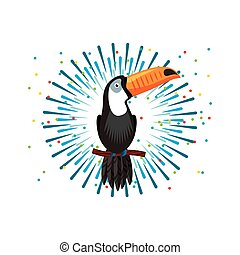 toucan bird icon over white background. brazilian culture...