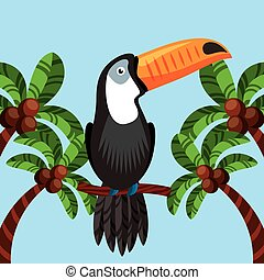 toucan bird icon over palms background. brazilian culture...