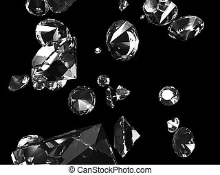 falling diamonds - 3d rendered illustration of some isolated...