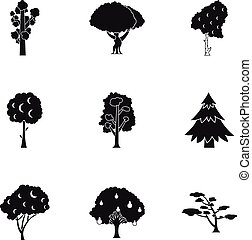 Arboreal plant icons set, simple style - Arboreal plant...